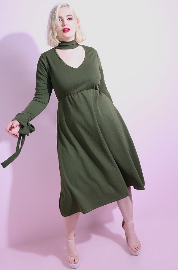 "Rebdolls ""Come Around"" Mock Turtleneck A-Line Midi Dress"