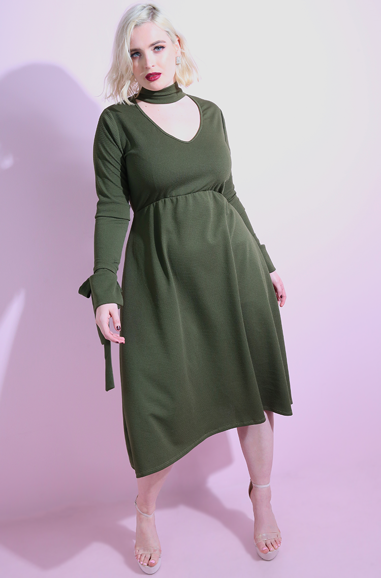 Olive Mock Turtleneck A-Line Midi Dress plus sizes