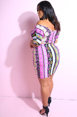 Pink Printed short sleeve over the shoulder crop top with matching mini skirt plus sizes