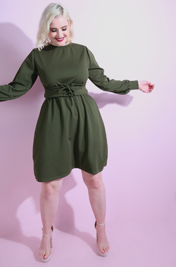 Hunter Green Caged Waist A-Line Skater Dress plus sizes