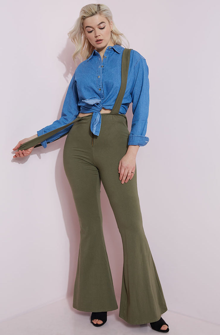 Olive Overall Style Bell Bottom Pants Plus Sizes