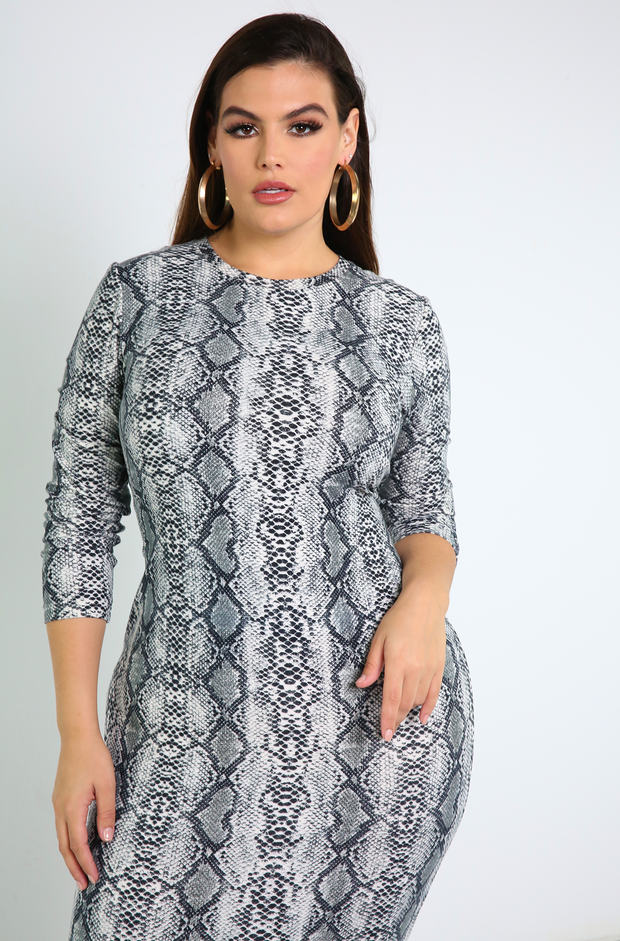 Gray Snake Print Bodycon Midi Dress Plus Sizes