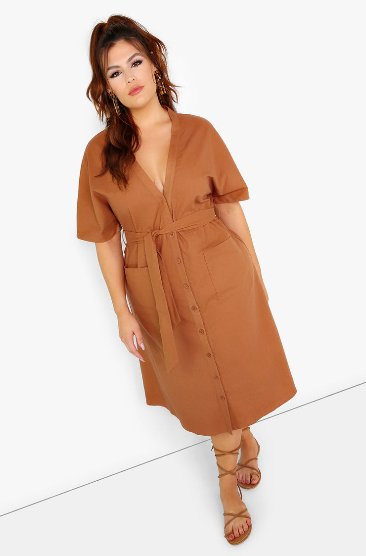 Brown Plunge Button Down  A-Line Midi Dress Plus Sizes