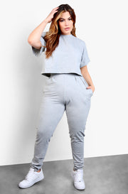 Gray Cropped Top & Pleated Pants Set