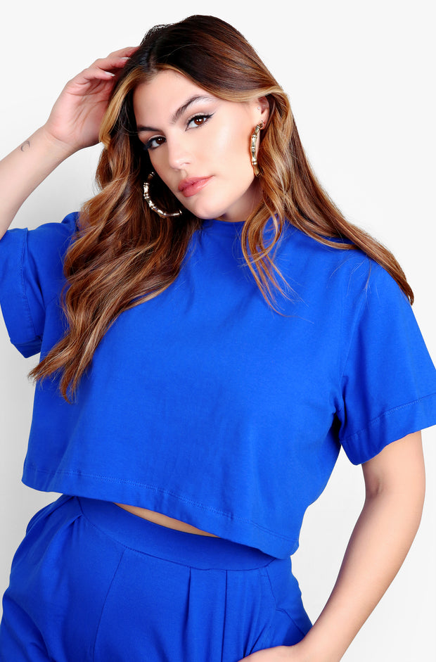 Royal Blue Cropped Top & Pleated Pants Set