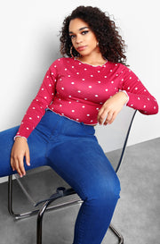 Burgundy Polka Dot Long Sleeve Top Plus Sizes
