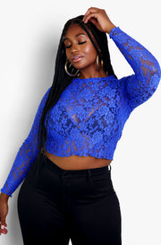 Royal Blue Floral Mesh Long Sleeve Top Plus Sizes