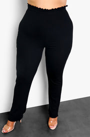 Black Flutter Hem Straight Leg Lounge Pants Plus Sizes