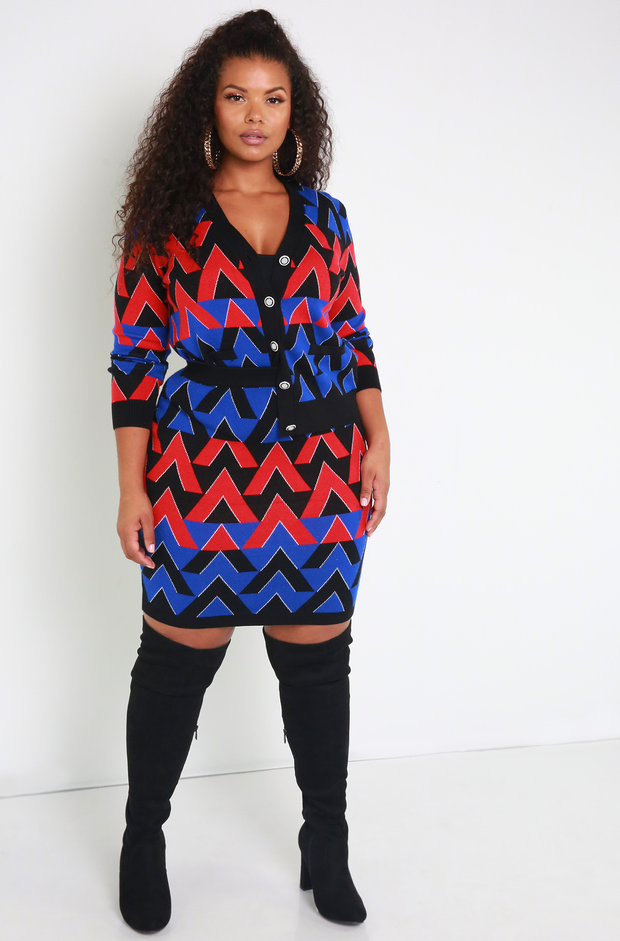 Royal Blue Chevron Knit Mini Skirt Plus Sizes