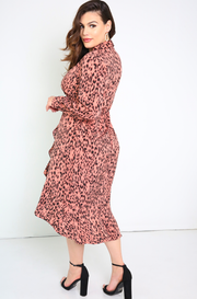 Coral Wrap Midi Dress Plus Sizes