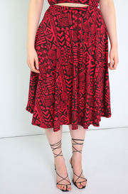 Burgundy Skater Midi Skirt Plus Sizes