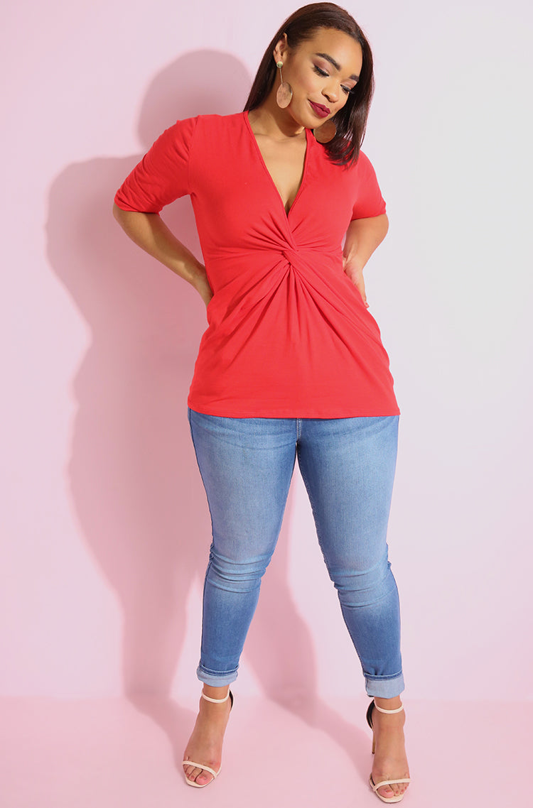 Red elbow sleeve Knotted full length top plus sizes