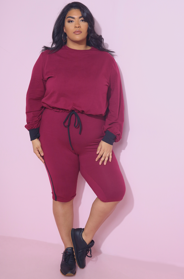 Burgundy Long Sleeve Crop Top Plus Sizes
