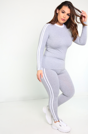 gray Long Sleeve sporty 2 Striped Top plus sizes