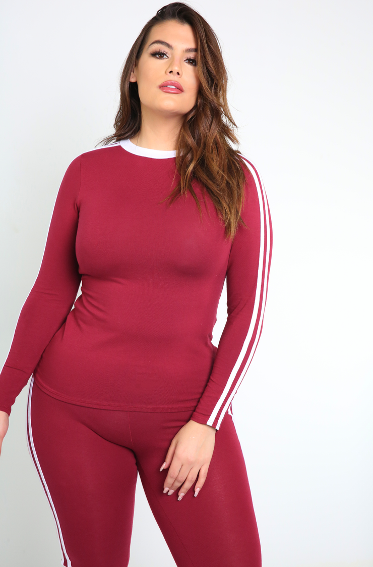 Burgundy Long Sleeve 2 Striped Top plus sizes