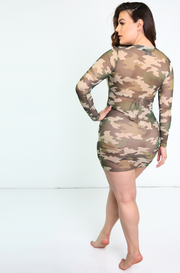 Olive Mesh Camo Crew Neck Cover Up Mini Dress