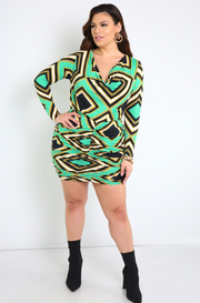 Green Cowl Neck Mini Dress Plus Sizes