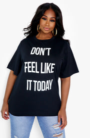 Black Longline Graphic T-Shirt Plus Sizes