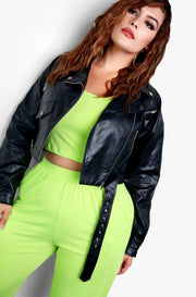 Black Classic Leather Jacket Plus Sizes