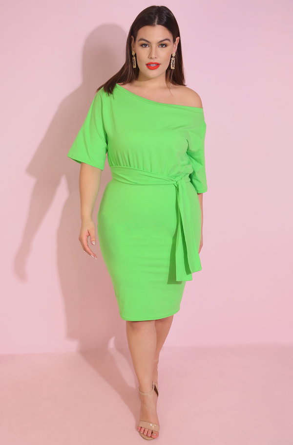 Lime Green Over The Shoulder Mini Dress Plus Sizes
