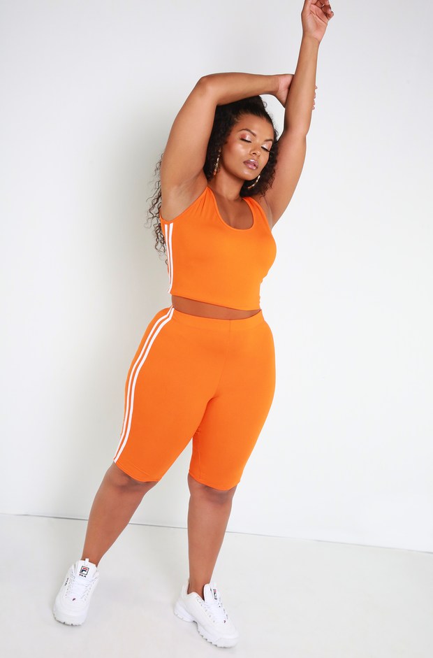 Orange Striped Crop Top Plus Sizes