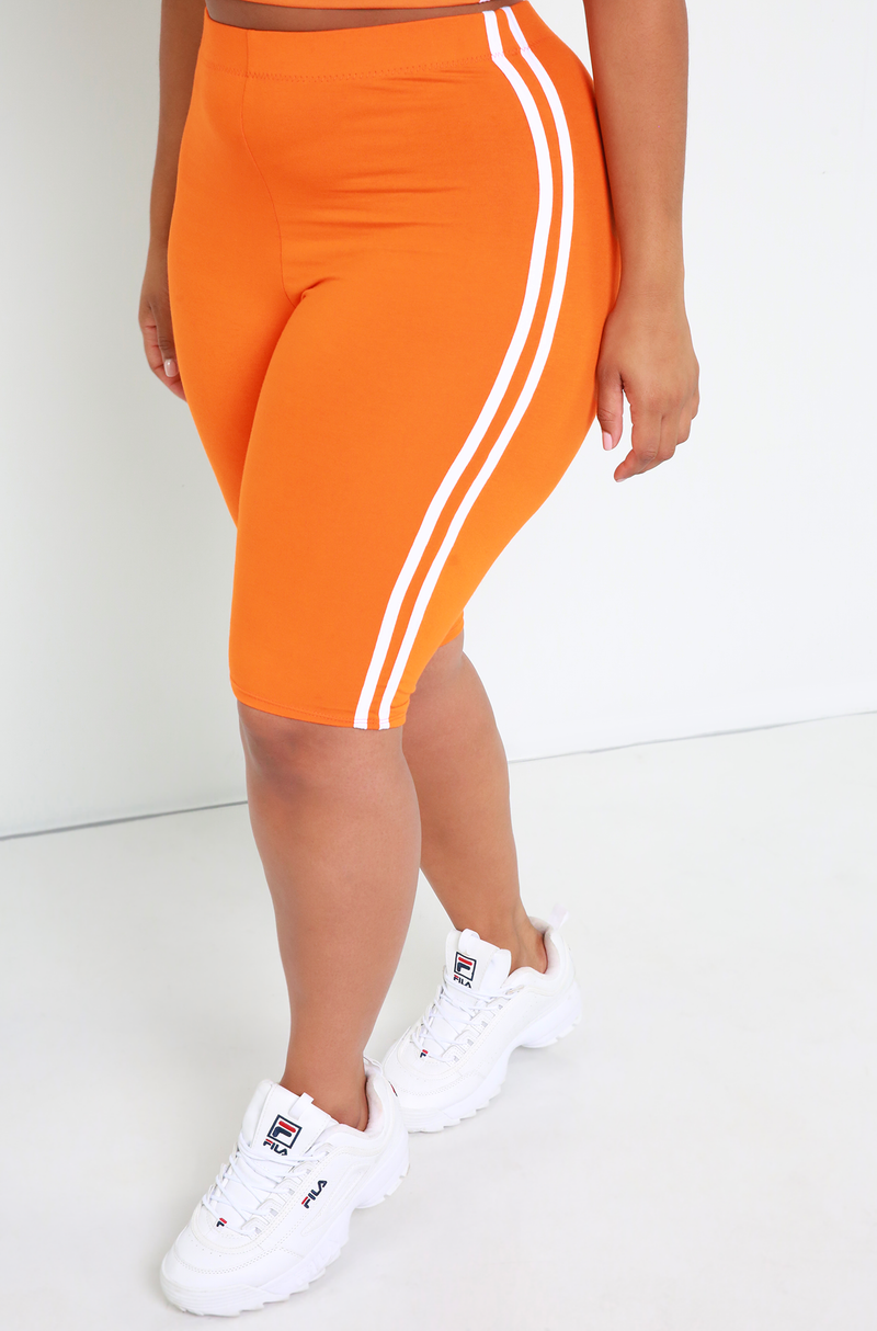 Orange Striped  Bermuda Shorts Plus Sizes