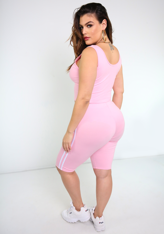 Pink Striped Crop Top Plus Sizes  Plus Sizes