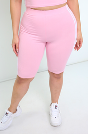 Pink Striped  Bermuda Shorts Plus Sizes