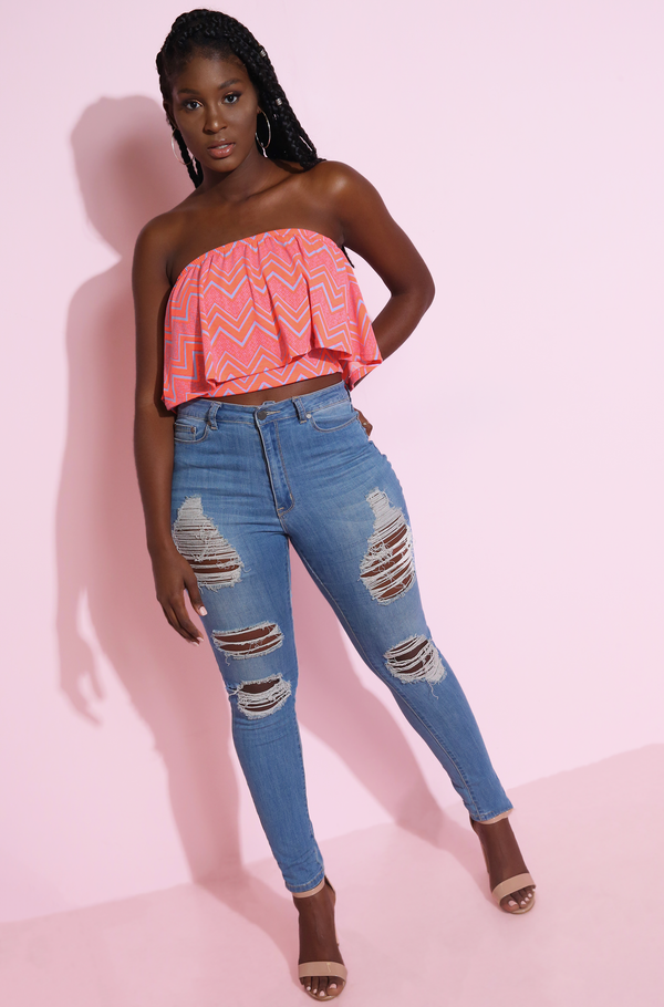 Neon Pink Over The Shoulder Crop Top Plus Sizes