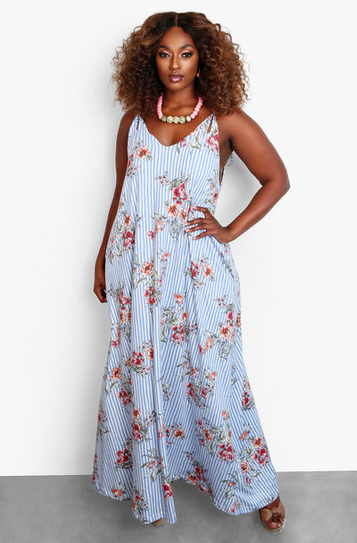 Blue Maxi Dress With Pockets Plus Sizes