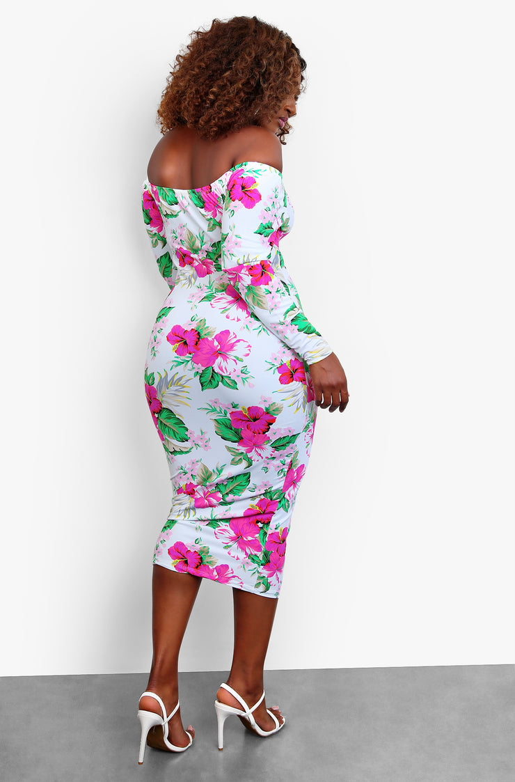 White Long Sleeve Over The Shoulder Midi Dress Plus Sizes