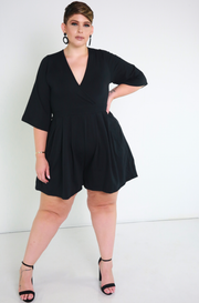 Black Kimono Sleeves Mini Jumper plus sizes