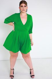 Green Kimono Sleeves Mini Jumper plus sizes