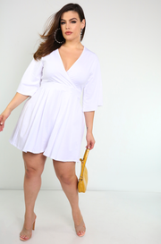 White Kimono Sleeves Mini Jumper Plus Sizes