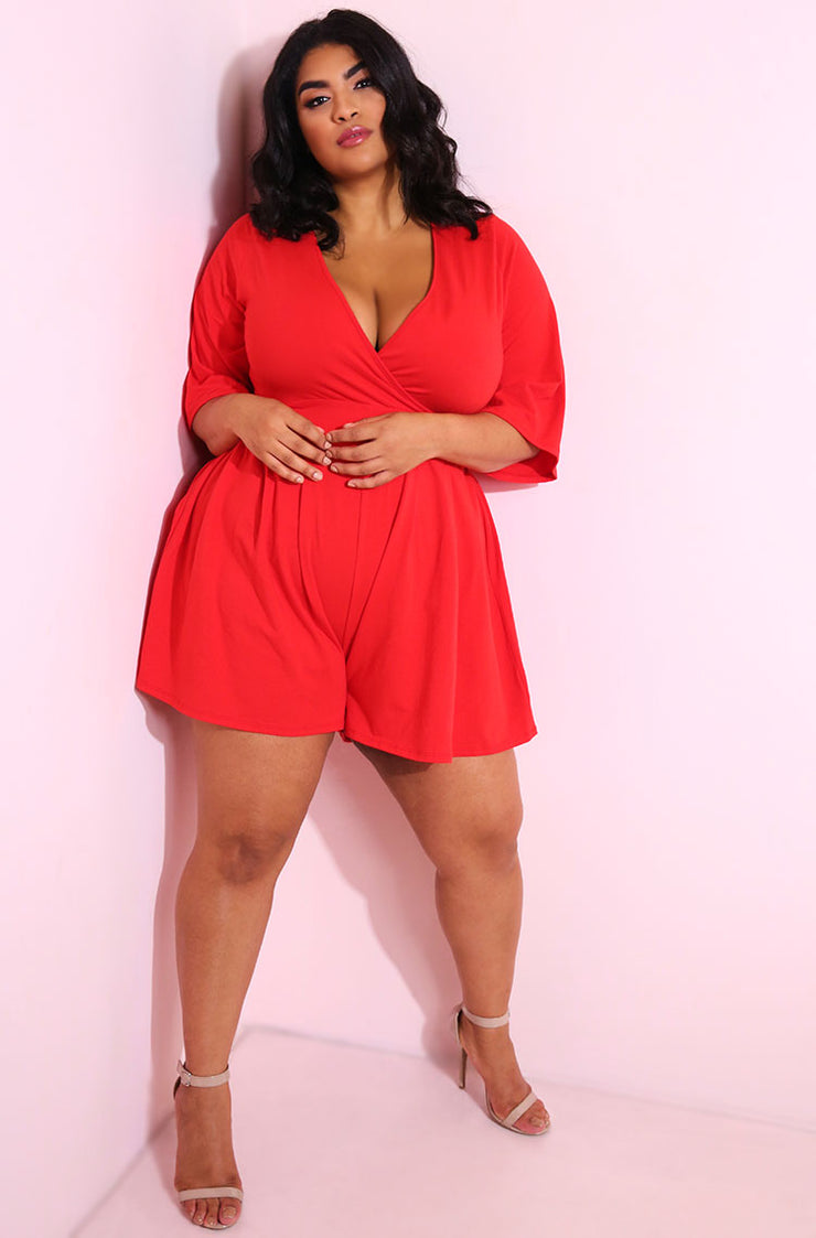 Red Kimono Sleeves Mini Jumper plus sizes