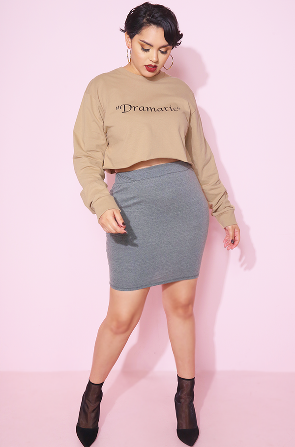Mocha Long Sleeve Crew Neck Crop Top plus sizes