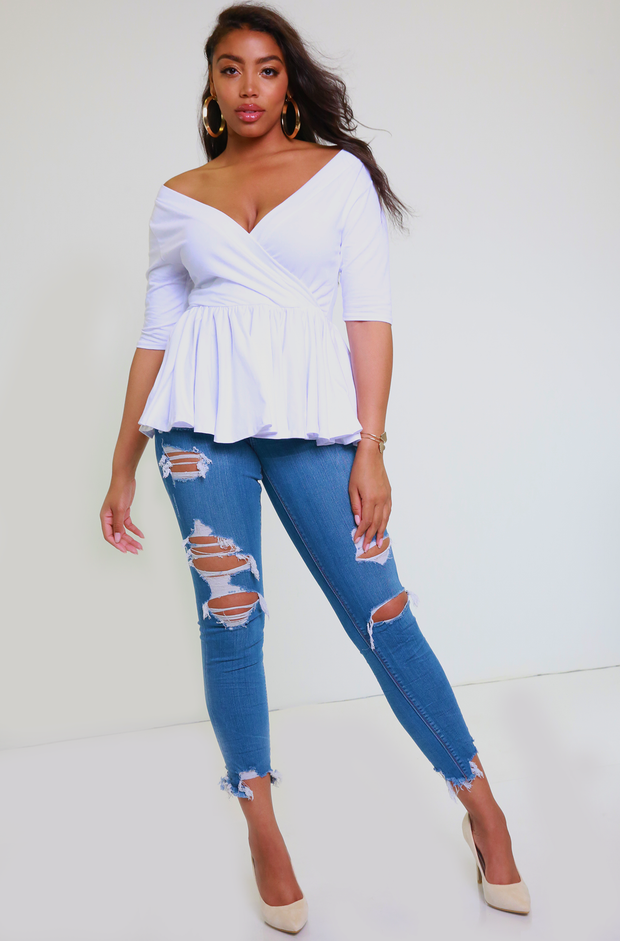 White Over The Shoulder Peplum Top Plus Sizes
