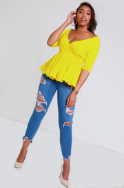 Yellow Over The Shoulder Peplum Top Plus Sizes
