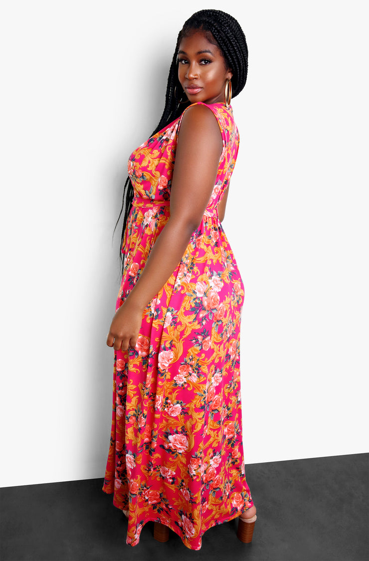 Fuchsia Floral Plunge Maxi Dress Plus Sizes