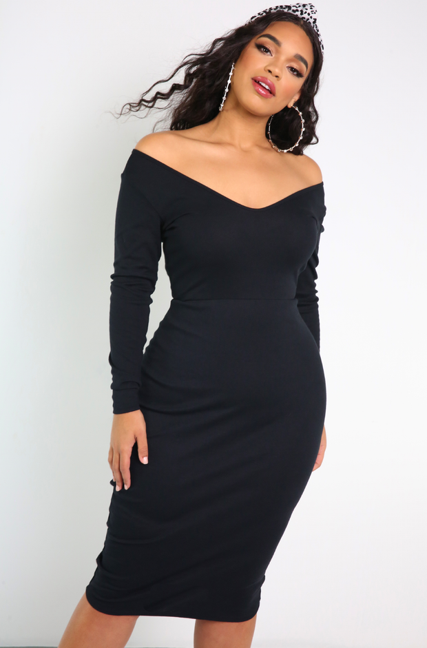 "Rebdolls ""Drunk On You"" Over The Shoulder Bodycon Midi Dress"