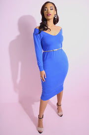 Royal Blue Over The Shoulder Bodycon Midi Dress plus sizes