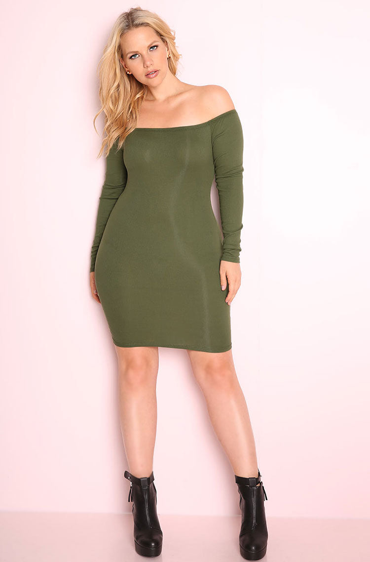 Olive Over The Shoulder Bodycon Mini Dress plus sizes