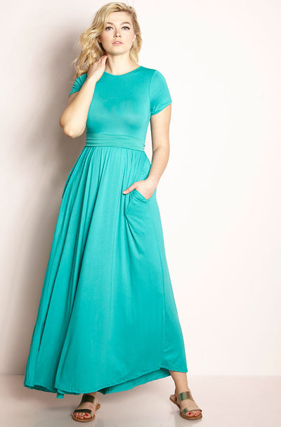 Aqua Maxi Skater Dress With Pockets plus sizes