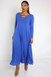 Royal Blue Caged Light -Weight Maxi Dress Plus Sizes