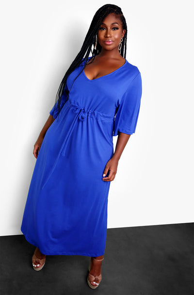 Royal Blue Kimono Wrap Tie Front Maxi Dress Plus Sizes