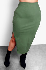 Olive Long Sleeve Crop Top & Bodycon Midi Skirt with Side Slit