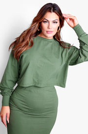 Olive Long Sleeve Crop Top & Bodycon Midi Skirt with Side Slit Plus Sizes