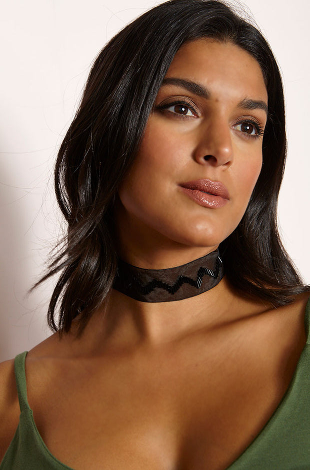 Black  Beaded Mesh Choker