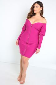 Purple Over The Shoulder Bandage Dress Plus Sizes