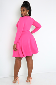 Pink Cut-Out Skater Mini Dress Plus Sizes